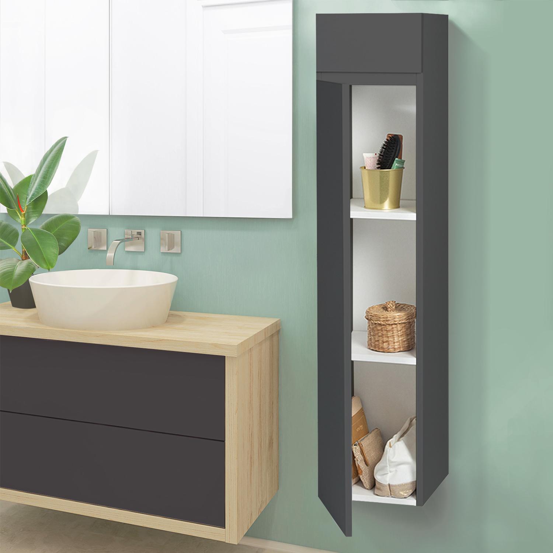 meuble colonne suspendu gris lila pour salle de bain idmarket