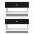 Lot de 2 tables de chevet CINDY blanc noir bouton strass