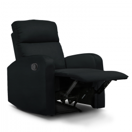 Fauteuil relaxation inclinable noir tissu microfibre