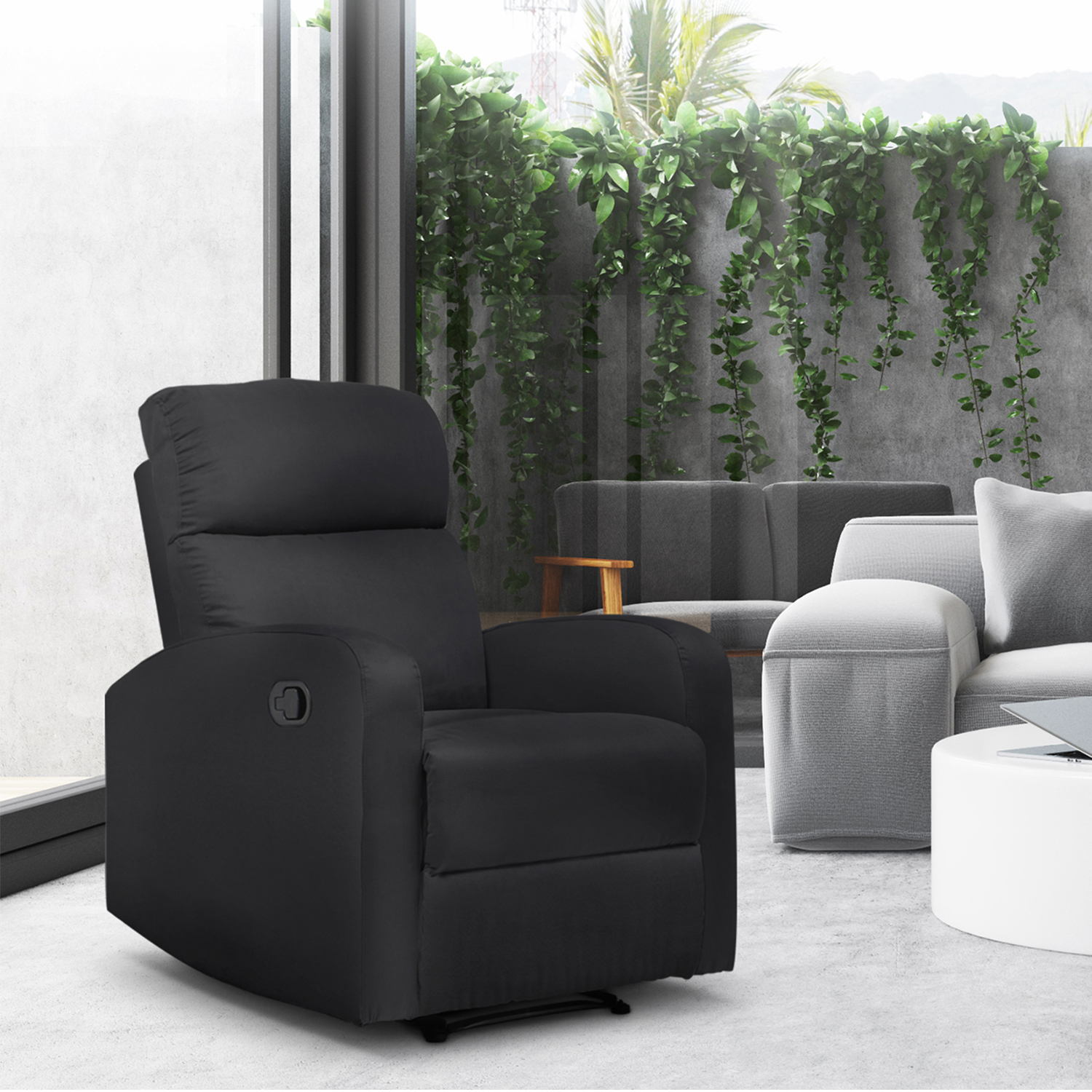 Fauteuil Relax Jaune Moutarde fauteuil relaxation inclinable noir tissu microfibre idmarket