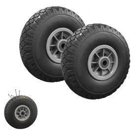 Lot de 2 roues increvables pour diable chariot alésage axe 16mm