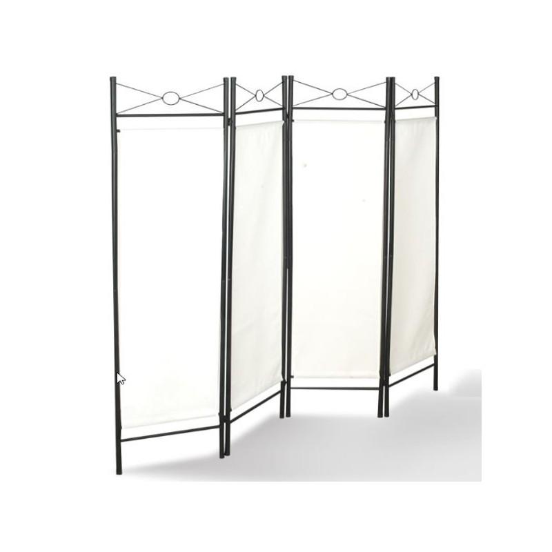 Paravent blanc s paration de pi ces 4 panneaux 180 x 160 cm - Panneaux separation piece ...