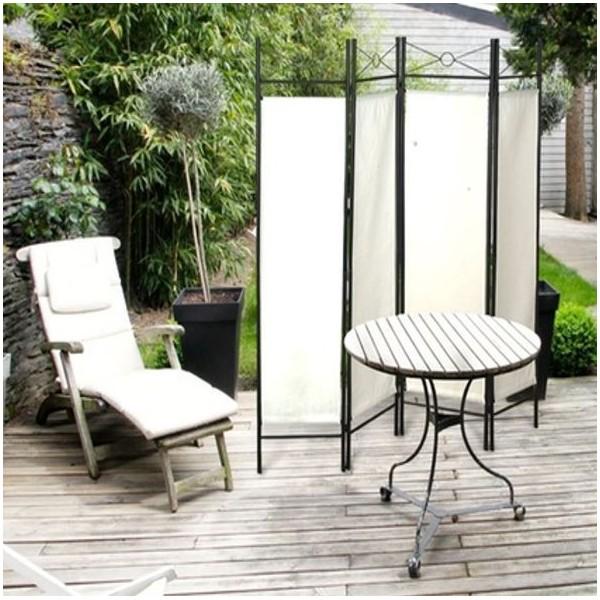 Paravent blanc s paration de pi ces 4 panneaux 180 x 160 cm les pros de la - Panneaux separation piece ...