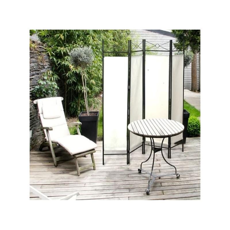 Paravent blanc s paration de pi ces 4 panneaux 180 x 160 cm meubl - Panneaux separation piece ...
