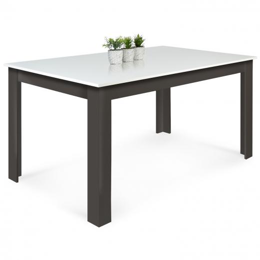 Table à manger GINA 6-8 personnes grise et blanche 160 CM