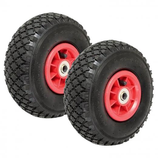 Lot de 2 roues gonflables pour diable chariot alésage axe 20 mm