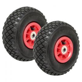 Lot de 2 roues gonflables pour diable chariot alésage axe 16mm