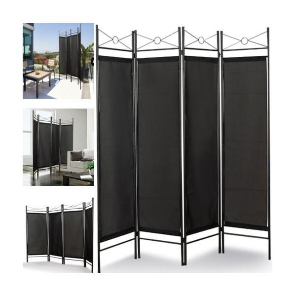 paravent noir s paration de pi ces 4 panneaux 180 x 160 cm. Black Bedroom Furniture Sets. Home Design Ideas
