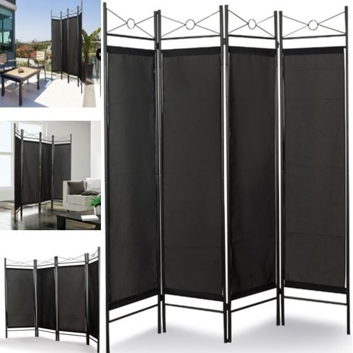 paravent noir s paration de pi ces 4 panneaux 180 x 160 cm meubles. Black Bedroom Furniture Sets. Home Design Ideas