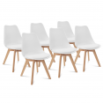 Lot de 6 chaises SARA blanches pour salle à manger