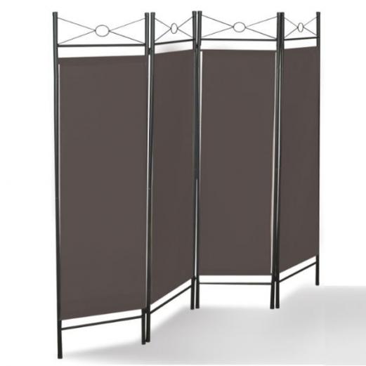 Paravent marron séparation de pièces 4 panneaux 180 x 160 cm
