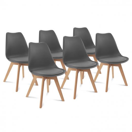 Lot de 6 chaises SARA gris foncé pour salle à manger