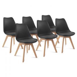 Lot de 6 chaises SARA noires pour salle à manger