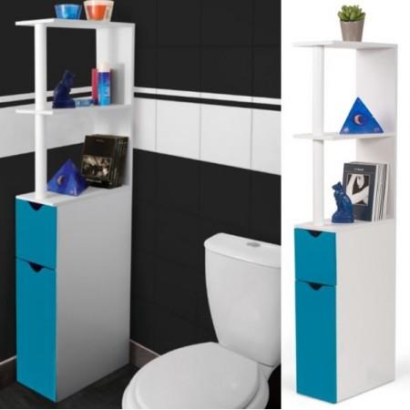 meuble wc tag re bois gain de place pour toilette porte bleue devient. Black Bedroom Furniture Sets. Home Design Ideas