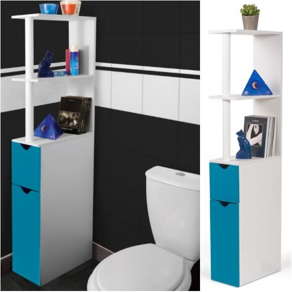 Meuble wc tag re bois gain de place pour toilette porte bleue - Mobilier gain de place ...