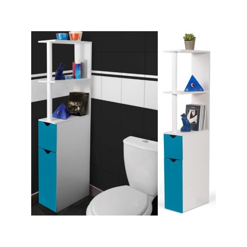 meuble wc tag re bois gain de place pour toilette 2 portes bleues. Black Bedroom Furniture Sets. Home Design Ideas