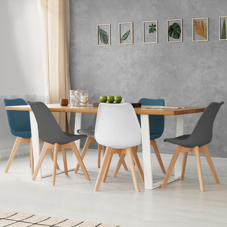 Salon Blanc Gris Bleu Canard lot de 6 chaises sara mix color blanc, gris clair, bleu canard x2,