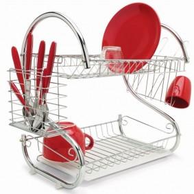 Égouttoir vaisselle chrome inox double niveau couverts assiettes