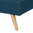 Lit double scandinave Oslo 140x190 cm tissu bleu canard