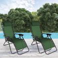 Fauteuil relax de jardin vert x2