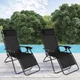 Lot de 2 fauteuils relax de jardin noirs
