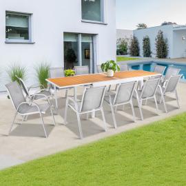 Salon de jardin extensible POLY gris clair et bois table 135-270 cm et 12 chaises