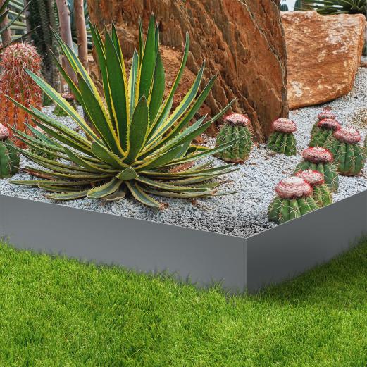 Bordurette de jardin x5 acier gris anthracite L. 5 x H. 0.14 M