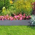 Bordurette de jardin x5 acier gris anthracite arrondi L. 5 x H. 0.18 M
