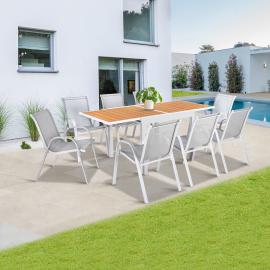 Salon de jardin extensible POLY gris clair et bois table 90-180 cm et 8 chaises