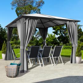 Tonnelle MAYA 3x3 m toit polycarbonate rideaux gris