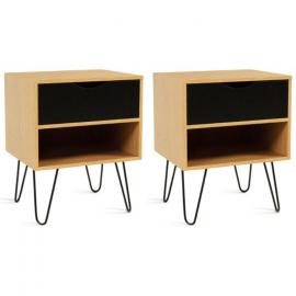 Lot de 2 tables de chevet 1 tiroir 1 étagère NOEMI bois pied épingle