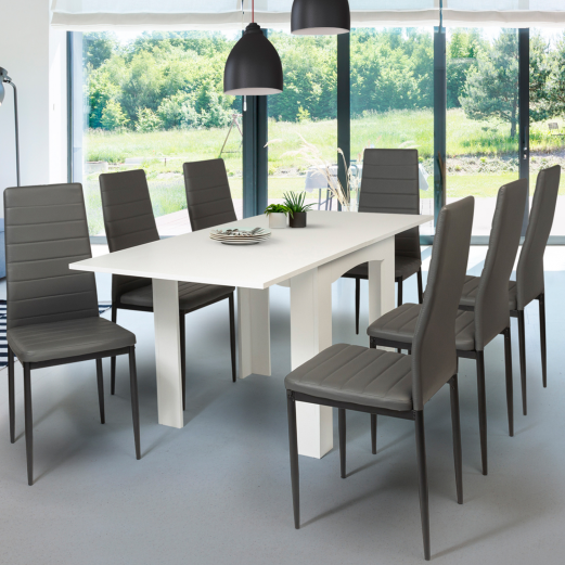 Table à manger extensible DONA 80-160 x 78 cm blanc
