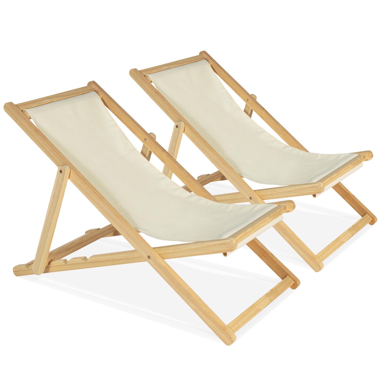 Lot de 2 chaises longues pliantes en bois avec toile écrue IDMarket
