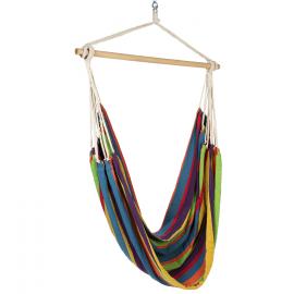 Hamac siège suspendu avec toile rayée multicolores