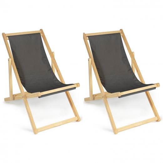Lot de 2 chaises longues pliantes en bois avec toile gris anthracite