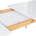 Table scandinave extensible 120-160 x 75 cm blanche pieds bois INGA