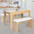 Table à manger + 2 bancs ROZY hêtre et blanc