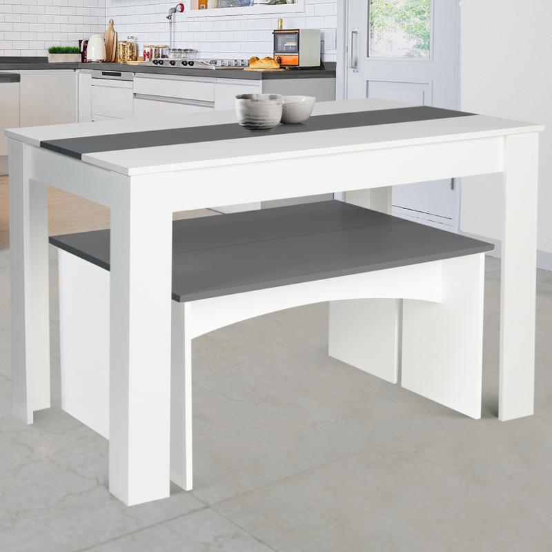 Table à manger avec banc pas cher blanche et grise | ID Market