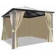 Tonnelle MAYA 3x3 m toit polycarbonate rideaux écrus