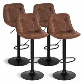 Lot de 4 tabourets DENVER marron vintage