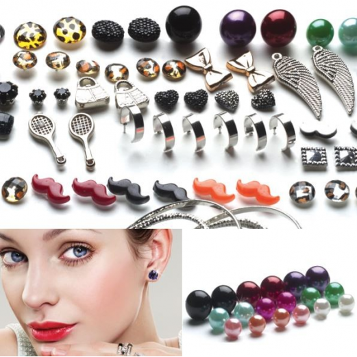 Lot de 100 paires de boucles d'oreilles fantaisie puce strass moustache perle tendance