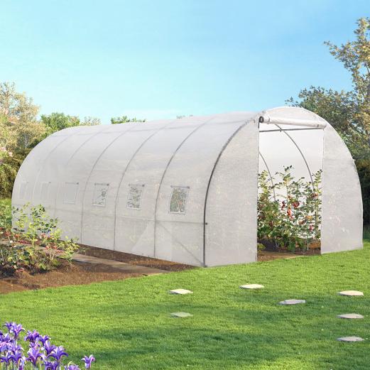 Serre tunnel de jardin 18m² blanche gamme maraichère CRIMÉE 6x3M