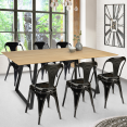 Table à manger HAVANA extensible 6-8 personnes design industriel 150/180 cm
