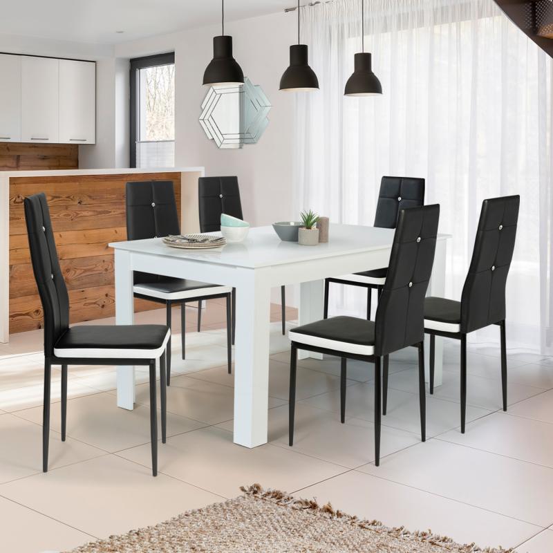 Chaises noires et blanches pour salle à manger Lot de 6