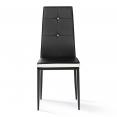 Lot de 6 chaises ROMANE noires bandeau blanc avec strass pour salle à manger