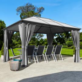 Tonnelle MAYA 3x4 m toit polycarbonate rideaux gris