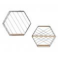 Set de 2 étagères murales LILY hexagonales en métal design industriel