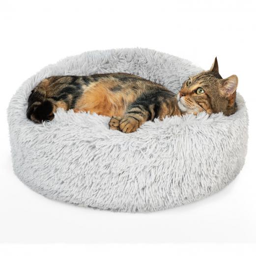Coussin rond pour chat 50 cm panier gris peluche ultra doux