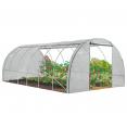 Grande serre de jardin tunnel relevable toutes saisons 18m2 140gr/m2 blanche