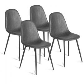 Lot de 4 chaises vintage DALI grises pour salle à manger
